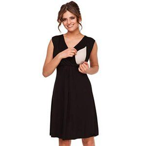 Happy Mama black nursing skater dress sleeveless S